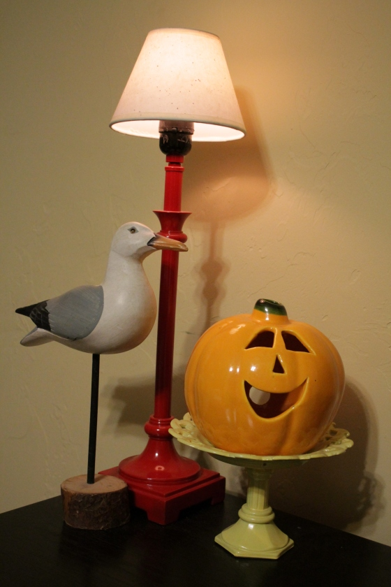 The wooden bird was $3.00, the pumpkin was .99cents and the little platter I made.