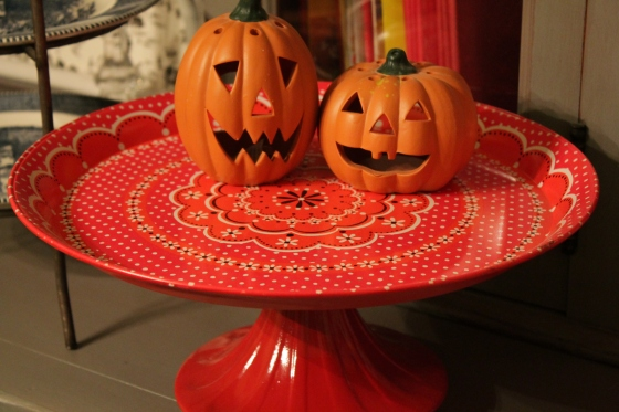 The pumkins I have had for years.  The cake platter I made out of a metal tray and the base was purchased for $1.00. I painted it to match the tray and glued them together.