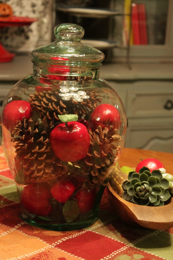 This was $2.50 and was a lemonade server.  The spicket was broke so I just filled it with apples and pinecones.  I may even add lights to the inside around Christmas