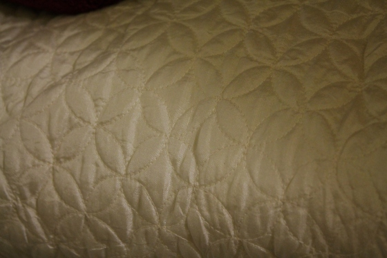 This is a perfect condition queen size duvet.  has kind of a shimmery texture with tight close stitching.  I got this for $5.00!